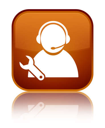 Tech support icon isolated on special brown square button reflected abstract illustration