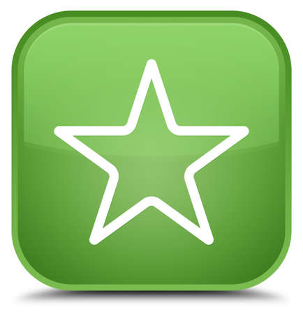 Star icon isolated on special soft green square button abstract illustration