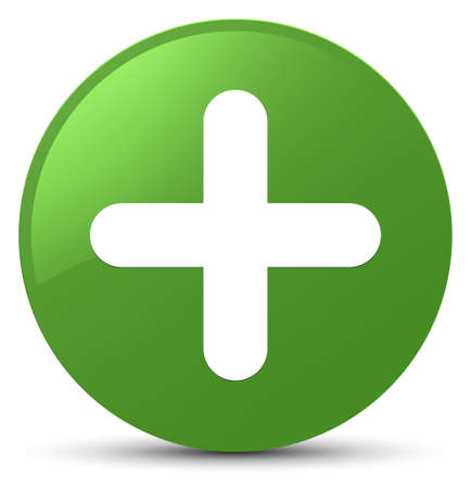 Plus pictogram op zachte groene ronde knoop abstracte illustratie die wordt geïsoleerd
