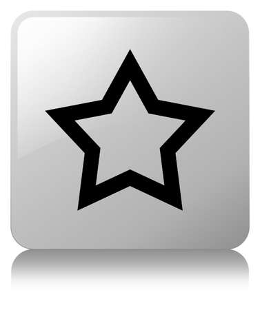 Star icon isolated on white square button reflected abstract illustration Stock Photo