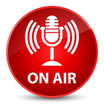 red sound: On air (mic icon) isolated on elegant red round button abstract illustration