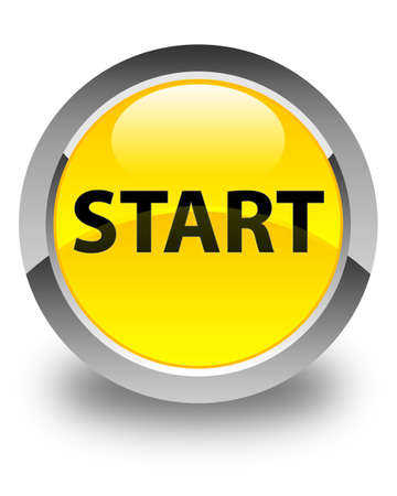 Start isolated on glossy yellow round button abstract illustration