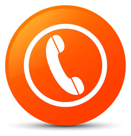 hotline: Phone icon isolated on orange round button abstract illustration