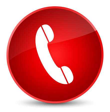 Phone icon isolated on elegant red round button abstract illustration