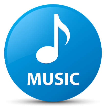 Music isolated on cyan blue round button abstract illustration