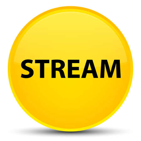 Stream isolated on special yellow round button abstract illustration Stock Photo