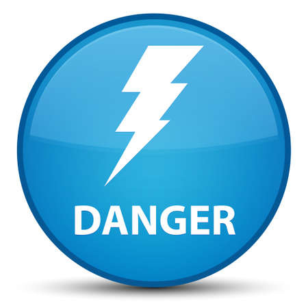 Danger (electricity icon) isolated on special cyan blue round button abstract illustration