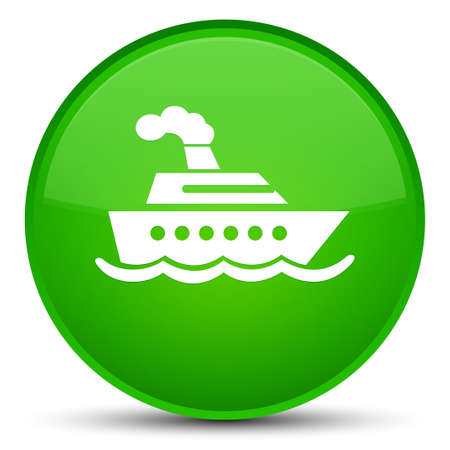 Cruise ship icon isolated on special green round button abstract illustration