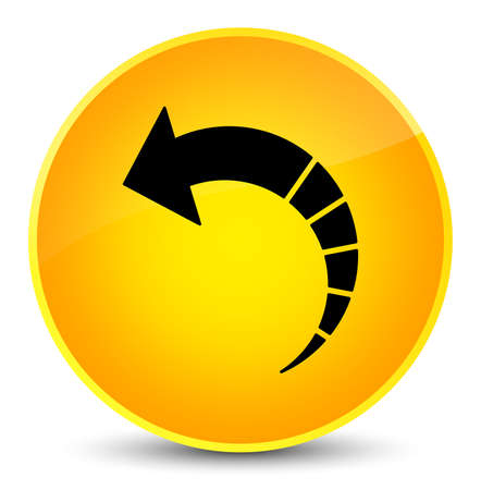 Back arrow icon isolated on elegant yellow round button abstract illustration