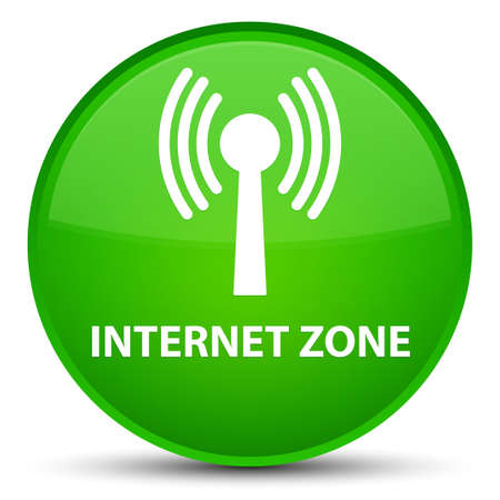 Internet zone (wlan network) isolated on special green round button abstract illustration Stock Photo