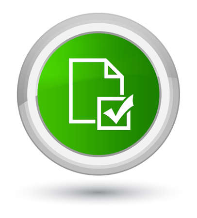 Survey icon isolated on prime green round button abstract illustration