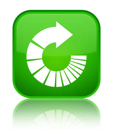 Rotate arrow icon isolated on special green square button reflected abstract illustration