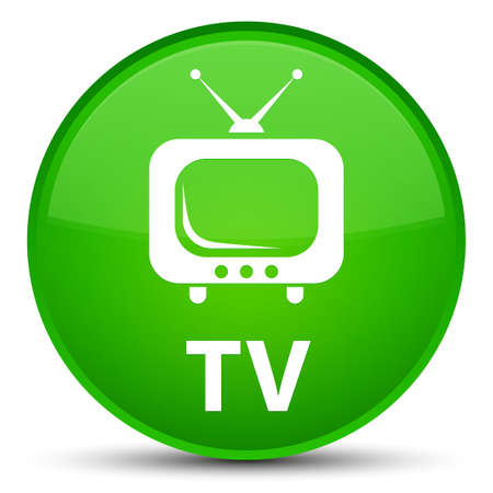 TV isolated on special green round button abstract illustration Stock Photo