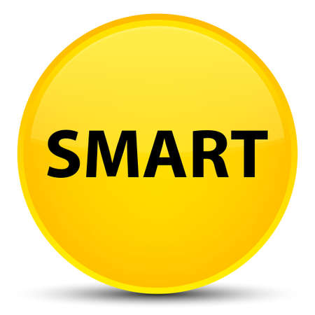 Smart isolated on special yellow round button abstract illustration