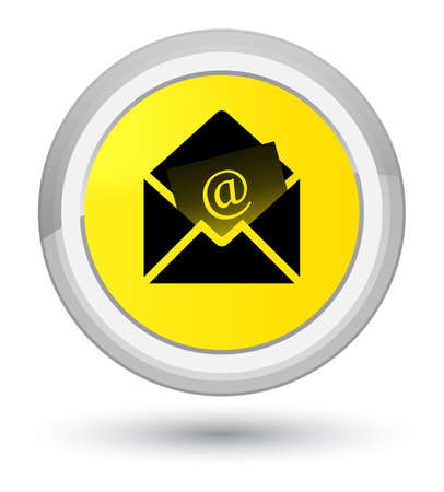 prime: Newsletter email icon isolated on prime yellow round button abstract illustration Stock Photo