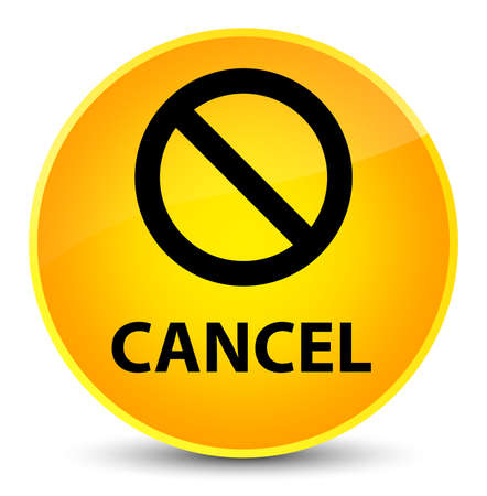 Cancel (prohibition sign icon) isolated on elegant yellow round button abstract illustration Stock Photo