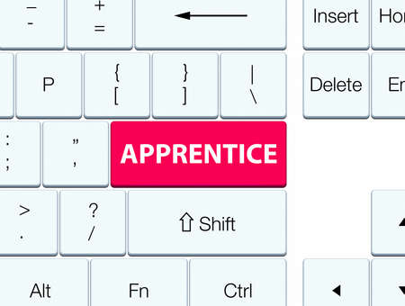 Apprentice isolated on pink keyboard button abstract illustration