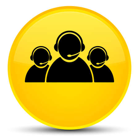 representative: Customer care team icon isolated on special yellow round button abstract illustration