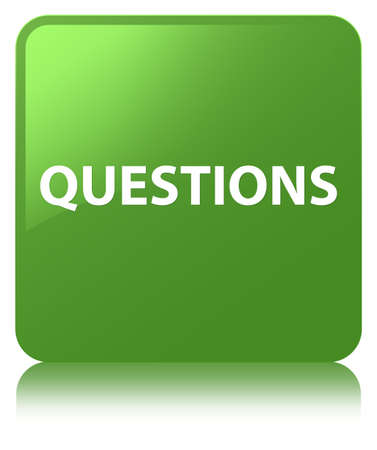 Questions isolated on soft green square button reflected abstract illustration