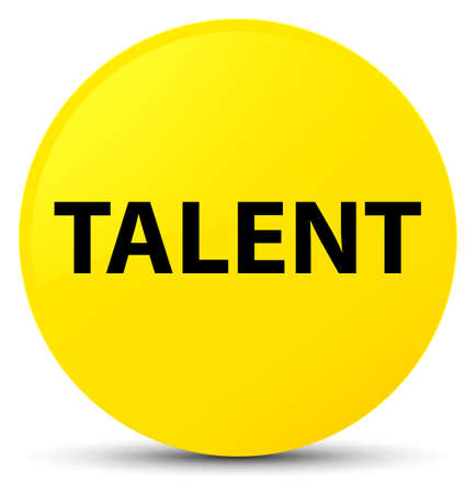 Talent isolated on yellow round button abstract illustration Stock Photo