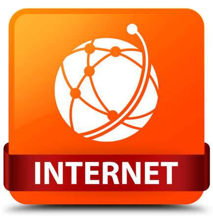 Internet (global network icon) isolated on orange square button with red ribbon in middle abstract illustration