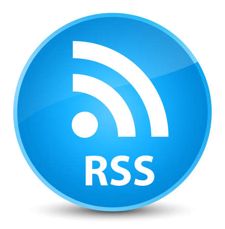 RSS isolated on elegant cyan blue round button abstract illustration