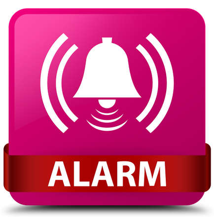 Alarm (bell icon) isolated on pink square button with red ribbon in middle abstract illustration
