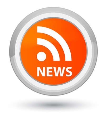 News (RSS icon) isolated on prime orange round button abstract illustration Stock Photo