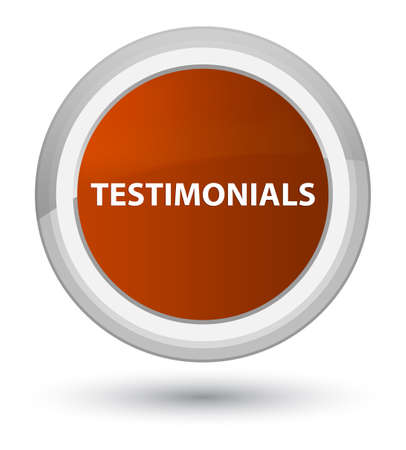 Testimonials isolated on prime brown round button abstract illustration