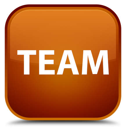 troupe: Team isolated on special brown square button abstract illustration