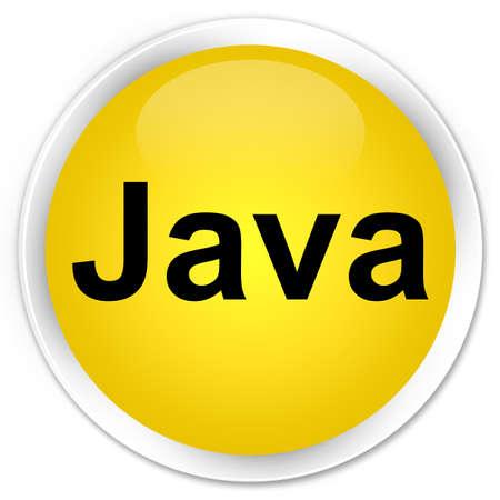 プレミアム黄色の丸いボタンの抽象的なイラストに分離された Java
