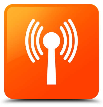 Wlan network icon isolated on orange square button abstract illustration Stock Photo