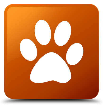Animal footprint icon isolated on brown square button abstract illustration