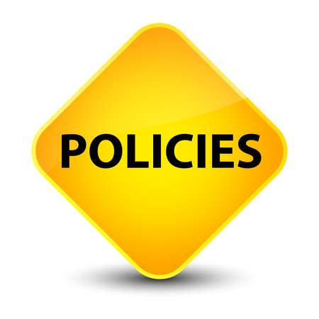 Policies isolated on elegant yellow diamond button abstract illustration