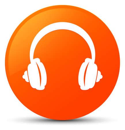 오렌지 아이콘 라운드 단추 그림에 고립 된 헤드폰 아이콘 스톡 콘텐츠