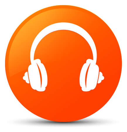 Headphone icon isolated on orange round button abstract illustration