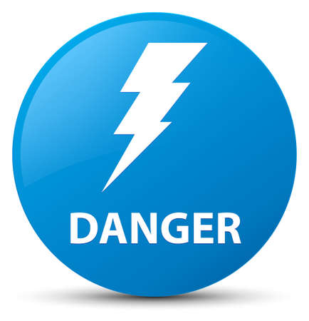 Danger (electricity icon) isolated on cyan blue round button abstract illustration