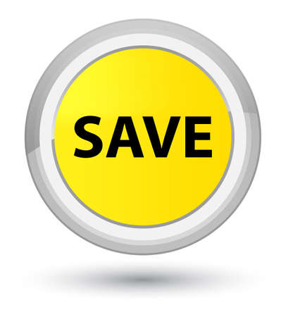 Save isolated on prime yellow round button abstract illustration