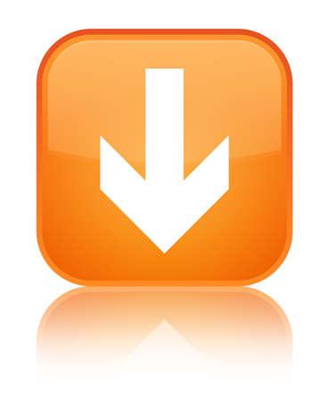 Downloadpijlpictogram op speciale oranje vierkante knoop wordt geïsoleerd weerspiegeld abstracte illustratie Stockfoto