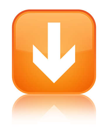 Download arrow icon isolated on special orange square button reflected abstract illustration