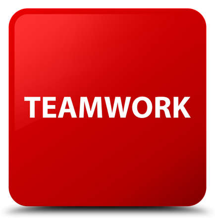Teamwork isolated on red square button abstract illustration Stock Photo