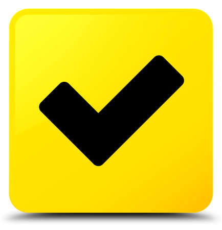 Validate icon isolated on yellow square button abstract illustration Stock Photo