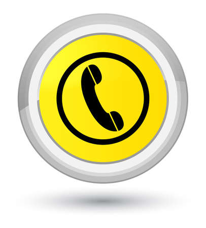 hotline: Phone icon isolated on prime yellow round button abstract illustration