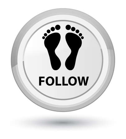 Follow (footprint icon) isolated on prime white round button abstract illustration Stock Photo