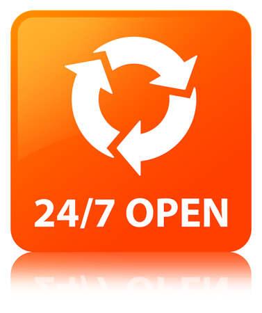 247 offenes lokalisiert auf orange quadratischem Knopf reflektierte abstrakte Illustration