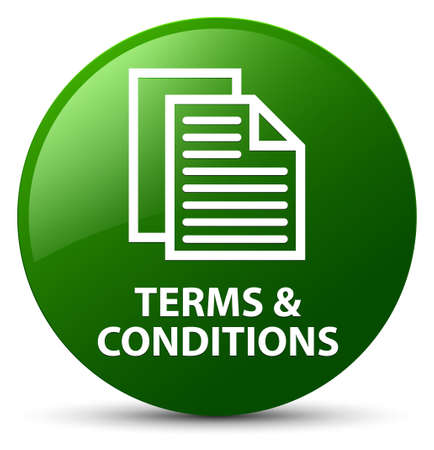 Terms and conditions (pages icon) isolated on green round button abstract illustration
