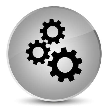 Gears icon isolated on elegant white round button abstract illustration Stock Photo