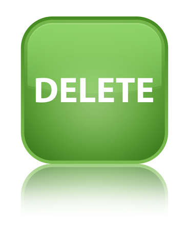 Delete isolated on special soft green square button reflected abstract illustration