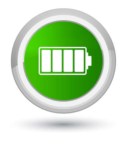 Battery icon isolated on prime green round button abstract illustration Stock Photo