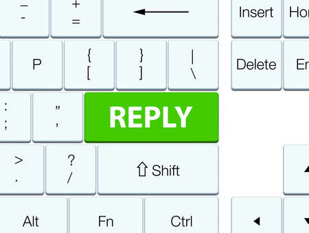 Reply isolated on soft green keyboard button abstract illustration Stock Photo